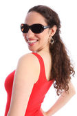 Beautiful happy smiling young woman in sunglasses — Stock Photo