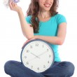 Time is money beautiful smiling woman with clock — Stock Photo #6372795