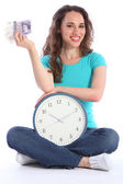 Time is money beautiful smiling woman with clock — Stock Photo