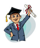 Student with diploma — Stock Vector