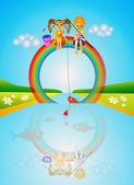 Children on rainbow. — Stock Photo