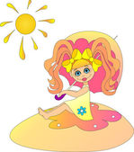 Little girl under the sunshade. — Stock Photo