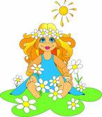 Little girl with ox-eye daisy. — Stock Photo