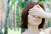 Portrait of a beautiful girl with closed eyes — Stock Photo