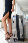 Girl with luggage outdoors — Stock Photo