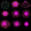 Vector fireworks - Stock Photo