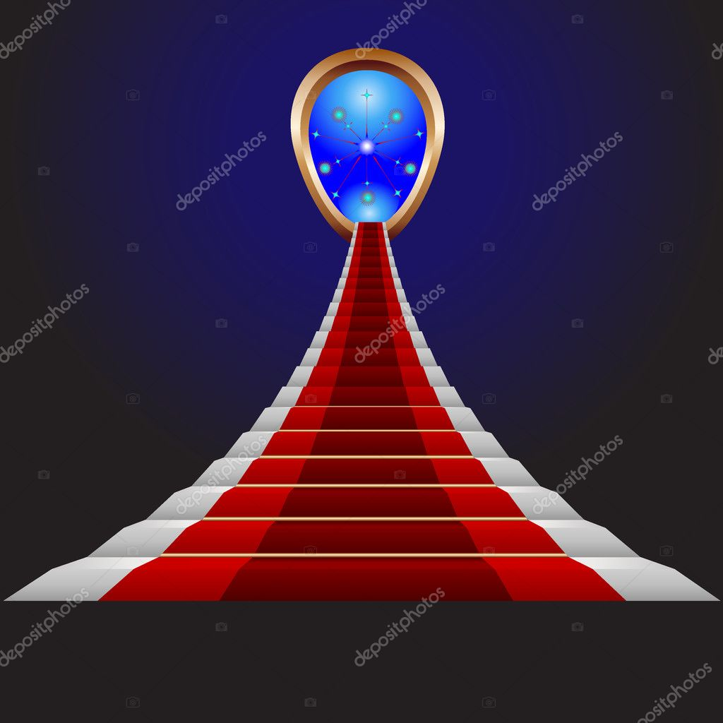 Red spiral stairs to success — Stock Vector #5883572