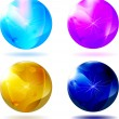 Four christmas glass ball isolated - Stock Vector
