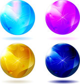 Four christmas glass ball isolated — Stock Vector