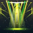 Stock Vector: Colorful lights in concert stage