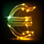 Neon euro symbol — Stock Vector