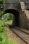 Old railway bridge with train track running through it — Stock Photo
