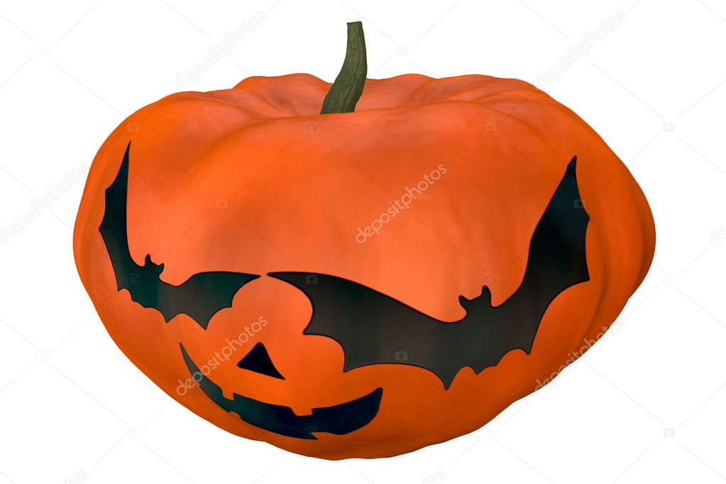 High quality rendering of halloween pumpkin with spooky face — Stock Photo #6742830