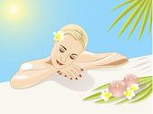 Dziewczyna odpoczynek w basenie — Wektor stockowy