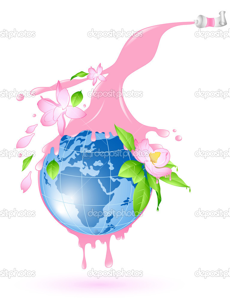 Flowering planet with splashes of pink paint and flowers — Stock Vector #6089449
