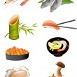 Sushi and other traditional japanese food icons — Stock Vector