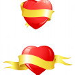 Glossy red hearts with yellow ribbon — Image vectorielle
