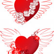 Red hearts with floral ornament and wings — Stock Vector