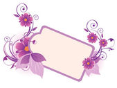 Violet banner with flowers, leaves and ornament — Stock Vector