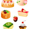 Set of sweet dessert icons — Stock Vector