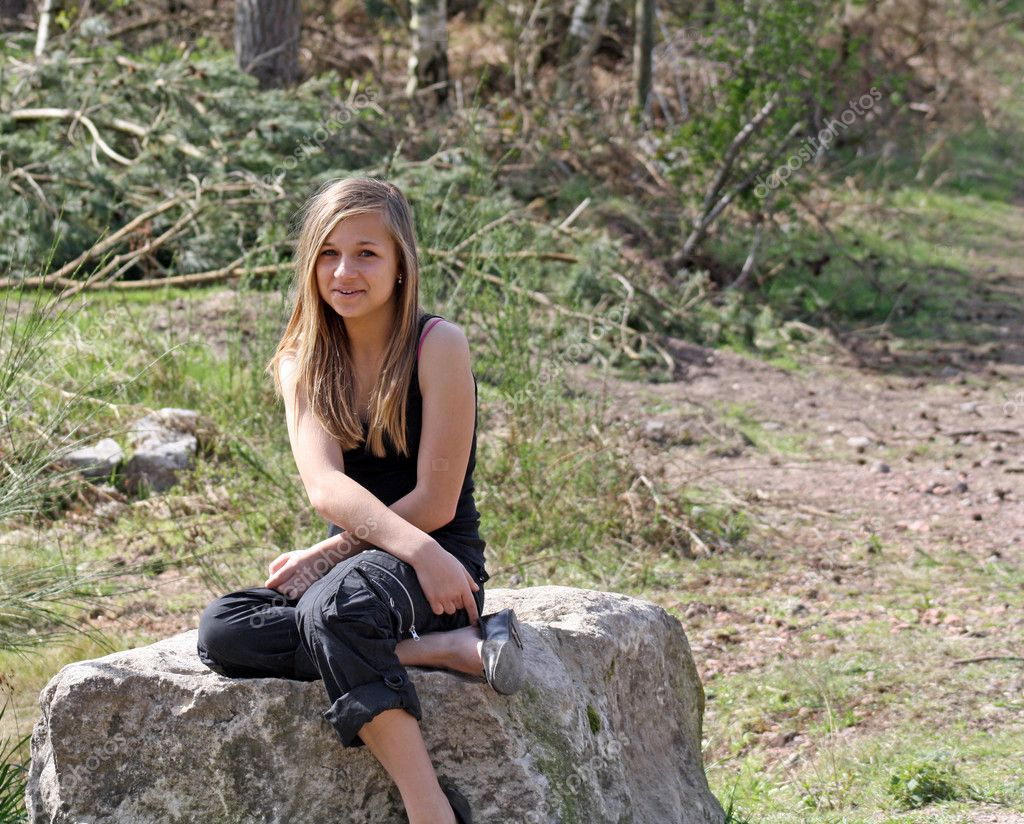 Stunning Teenage Girl In The Woods Stock Photo