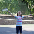 Teenage girl playing tennis — Stock Photo