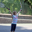 Stock Photo: Teenage girl playing tennis