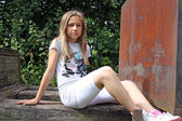 Teenage girl on playground — Stock Photo