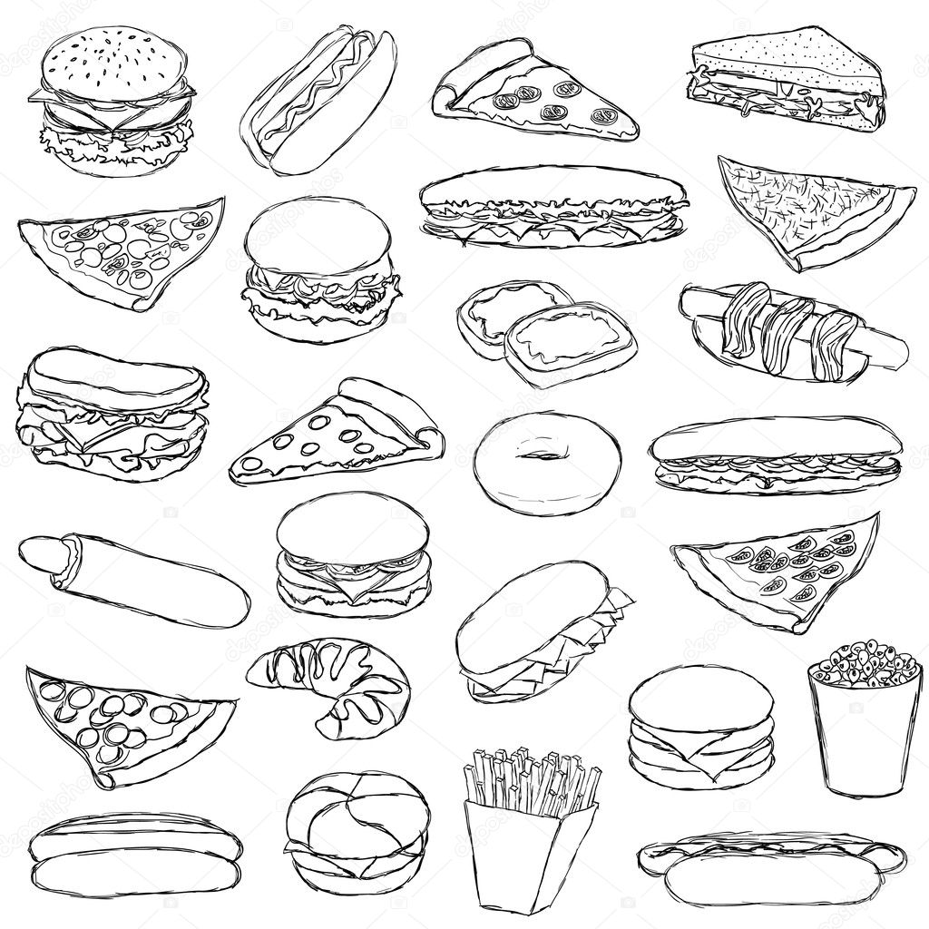 Fast food stock vector glorcza 6128045 for Coloring pages of fast food