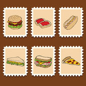 Fast food stamps — Vector de stock