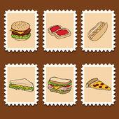 Francobolli di fast food — Vettoriale Stock