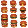 Stock Vector: Hamburgers