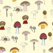 Stock Vector: Mushrooms pattern