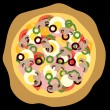 Pizza, black background — Imagen vectorial