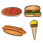 Doodle fastfood — Stock Vector