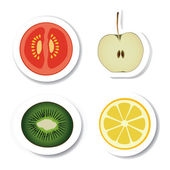 Vegetable and fruit stickers — Stock Vector