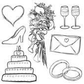Bruiloft set — Stockvector