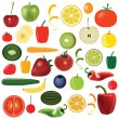 Stock Vector: Vegetables and fruits