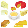 Stock Vector: Cheese set