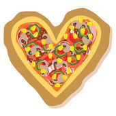 Heart pizza — Stock Vector