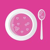 Sopa de corazones — Vector de stock