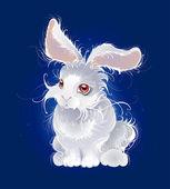 Cute cartoon rabbit with big eyes on white background