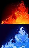 Red and blue flames — Stock Vector