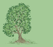 Vector tree on a green background — Stock Vector