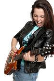 Vacker flicka spelar gitarr och sjunger — Stockfoto