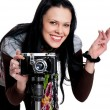 Brunette with an antique camera — Stock Photo #6346853