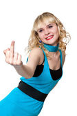 Blond shows middle finger up — Stock Photo