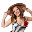 Beautiful girl in Conical Asian hat — Stock Photo