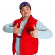 A man in a red jacket and ski goggles — Stock Photo