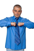 Portrait of gesticulating men in blue shirt — Stock Photo